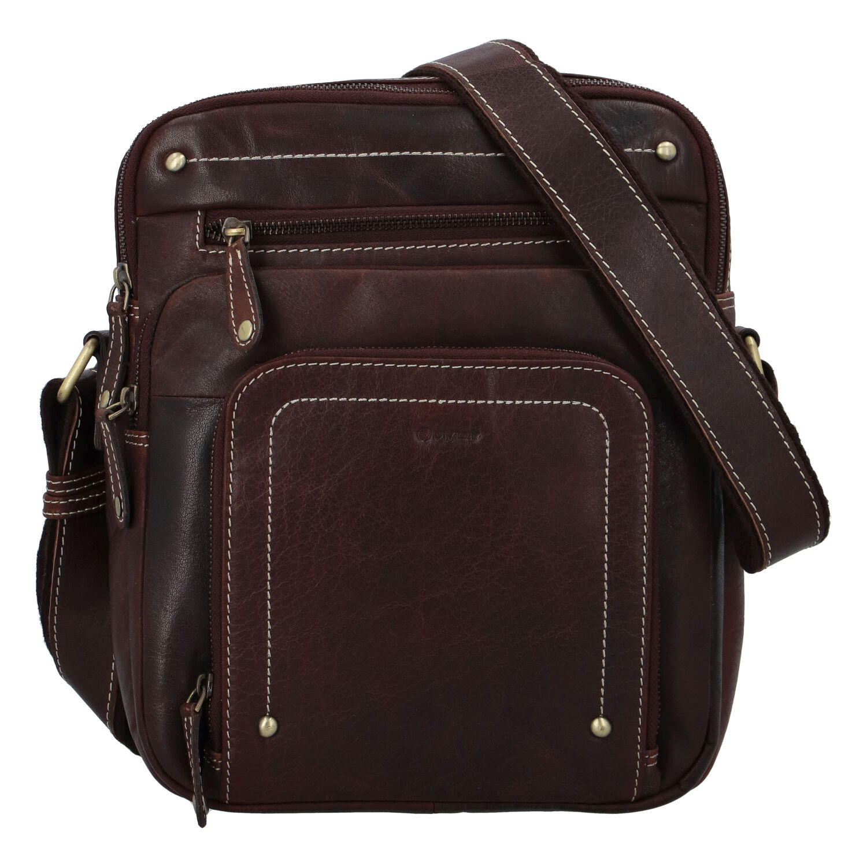 Pánská kožená taška hladká koňak - Diviley Hook