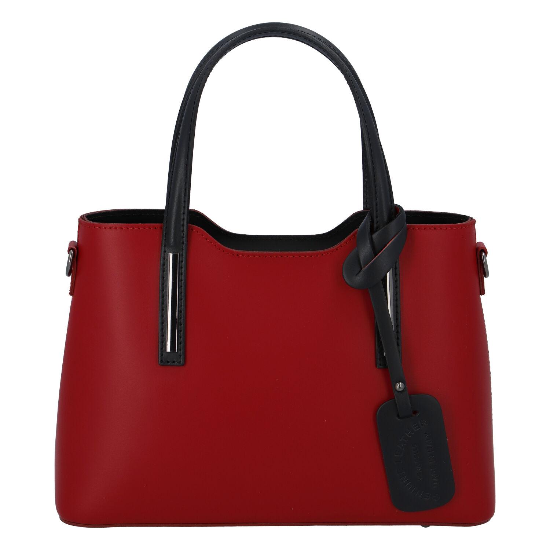 Menší kožená kabelka červeno černá - ItalY Alex