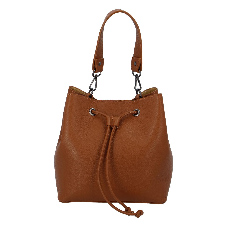Dámská kožená kabelka světle hnědá - ItalY TianJin