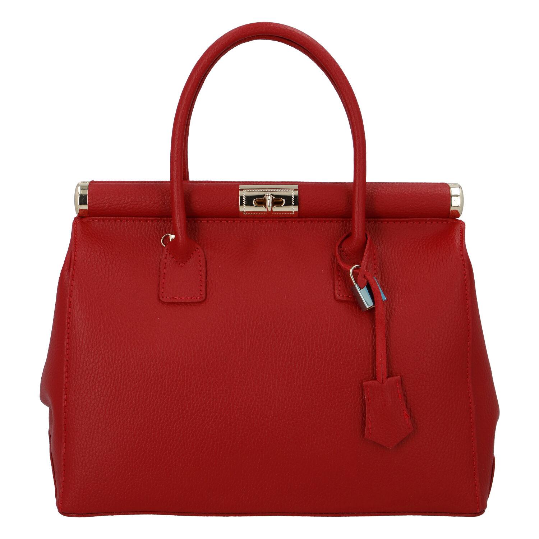 Módní originální dámská kožená kabelka do ruky červená - ItalY Hila