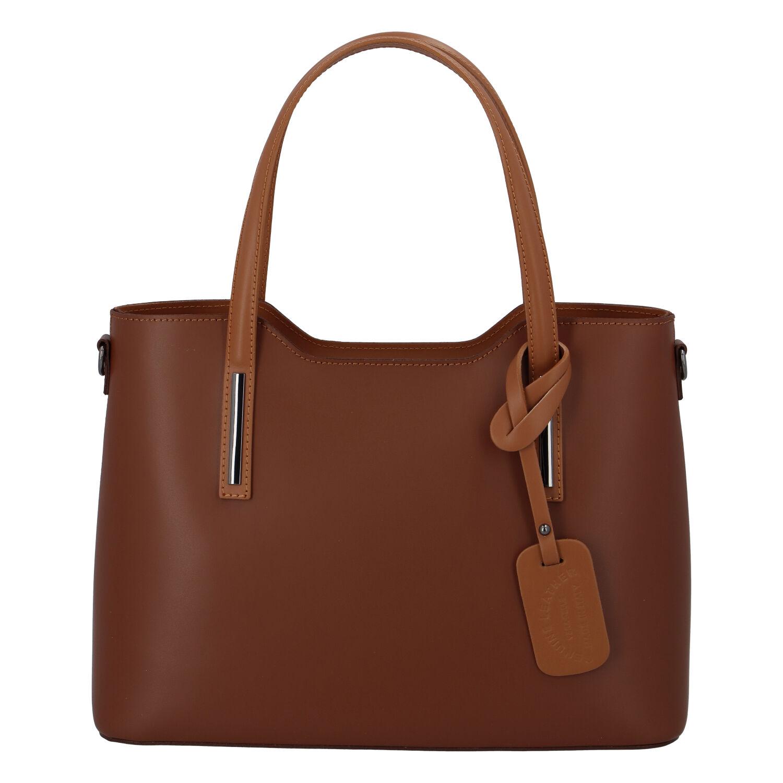 Větší kožená kabelka hnědo koňaková - ItalY Sandy