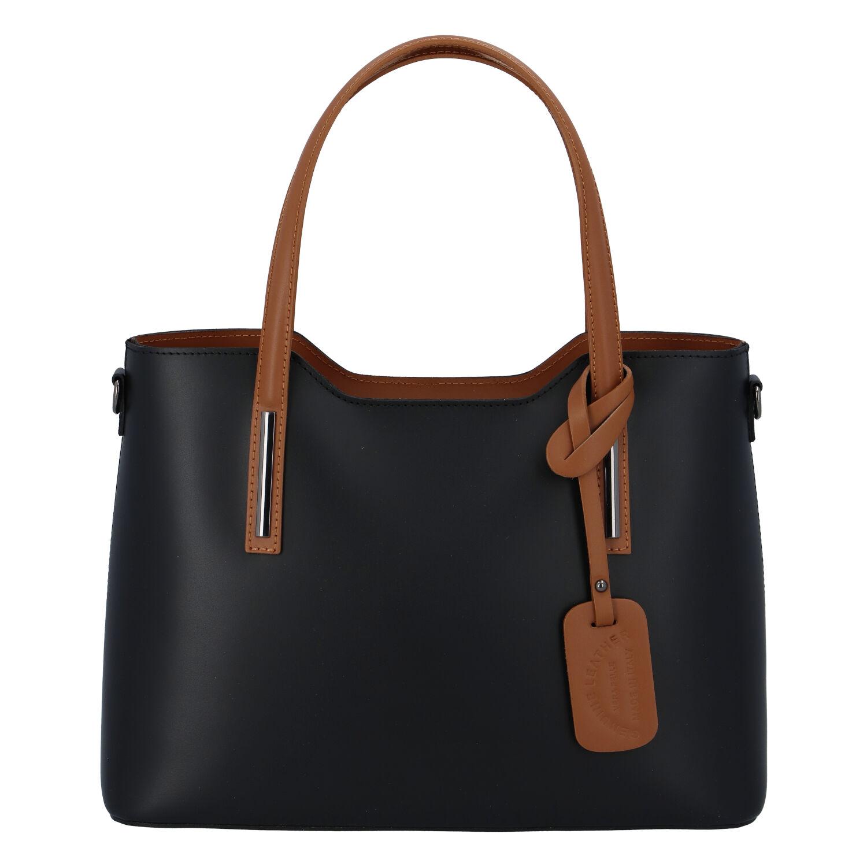 Větší kožená kabelka černo hnědá - ItalY Sandy