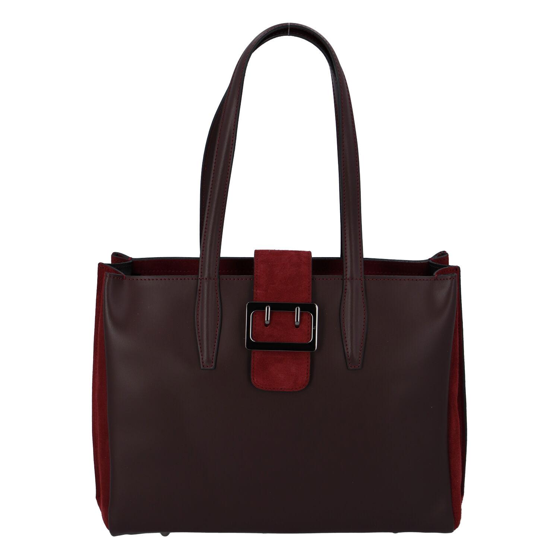Dámská kožená kabelka přes rameno bordo - ItalY Driada
