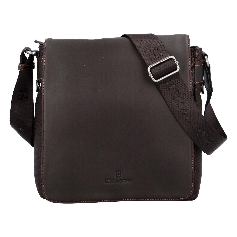 Hnědá kožená taška přes rameno Hexagona 299156