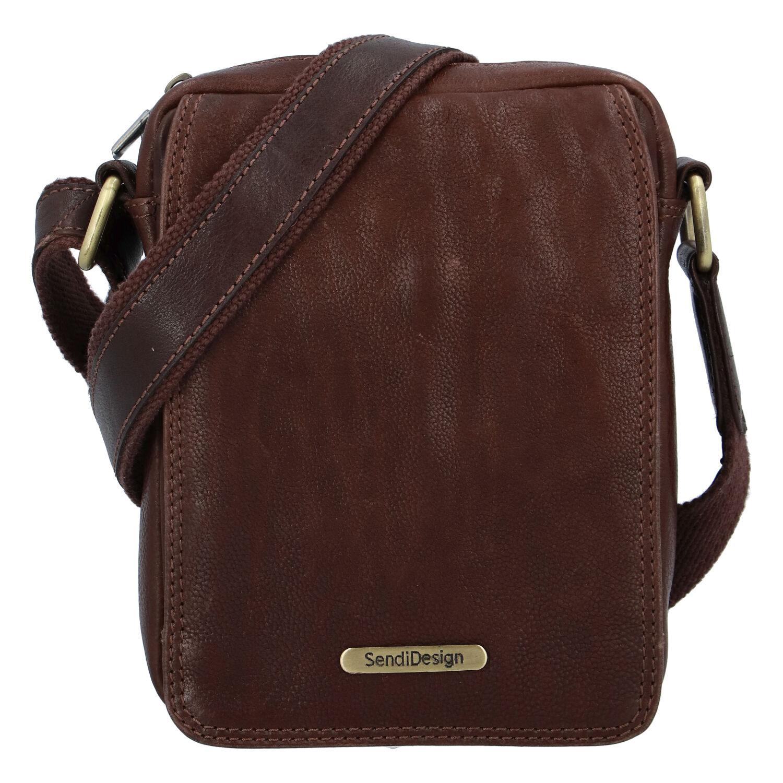 Pánská kožená taška na doklady přes rameno hnědá - SendiDesign Dumont New