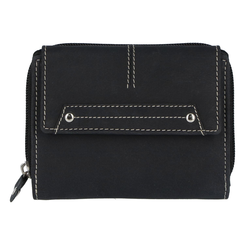 Dámská kožená peněženka černá broušená - Tomas Oraigy