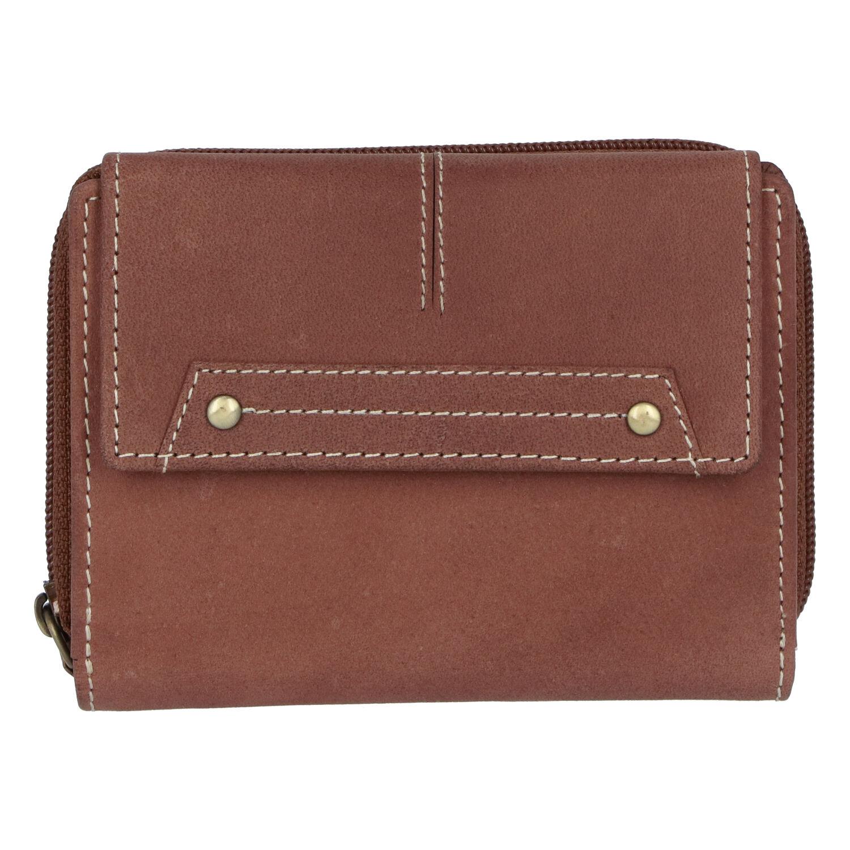 Dámská kožená peněženka hnědá broušená - Tomas Oraigy