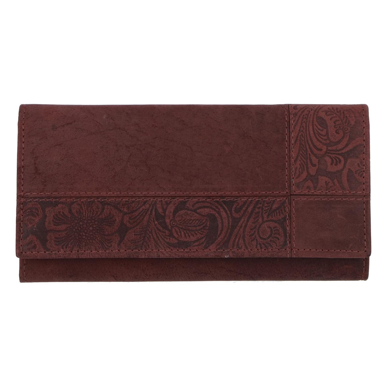 Dámská kožená broušená peněženka vínová - Tomas Farbe