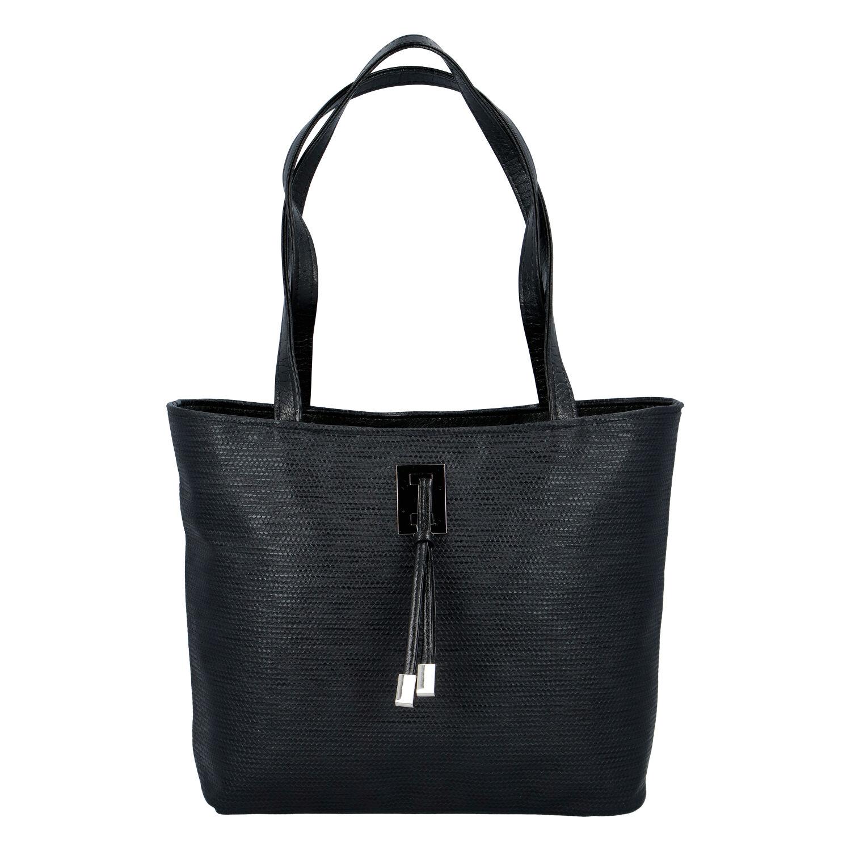 Velká černá vzorovaná dámská kabelka přes rameno - Ellis Huyen JR