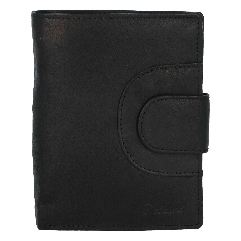 Elegantní pánská kožená černá peněženka - Delami Norm Duo