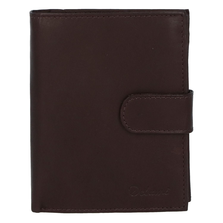 Pánská kožená tmavě hnědá peněženka se zápinkou - Delami Lunivers Duo