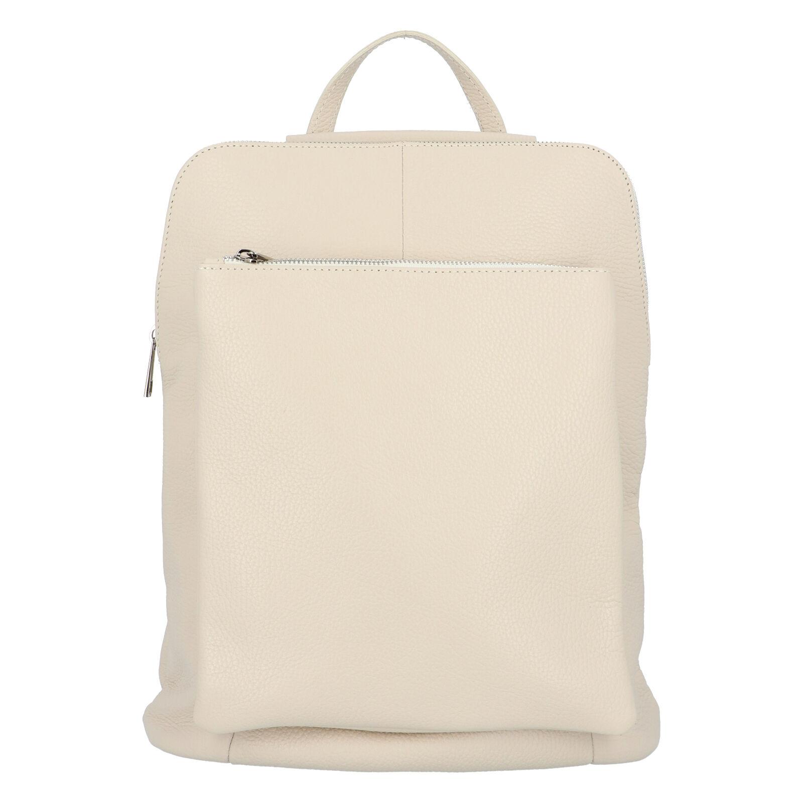 Dámský kožený batůžek kabelka béžový - ItalY Houtel