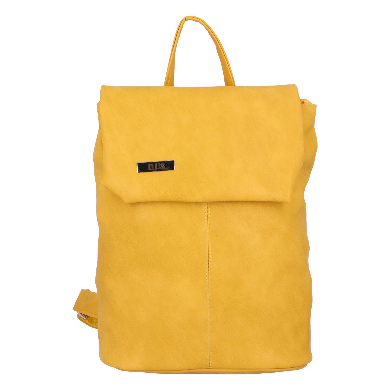 Větší měkký dámský moderní žlutý batoh - Ellis Elizabeth JR