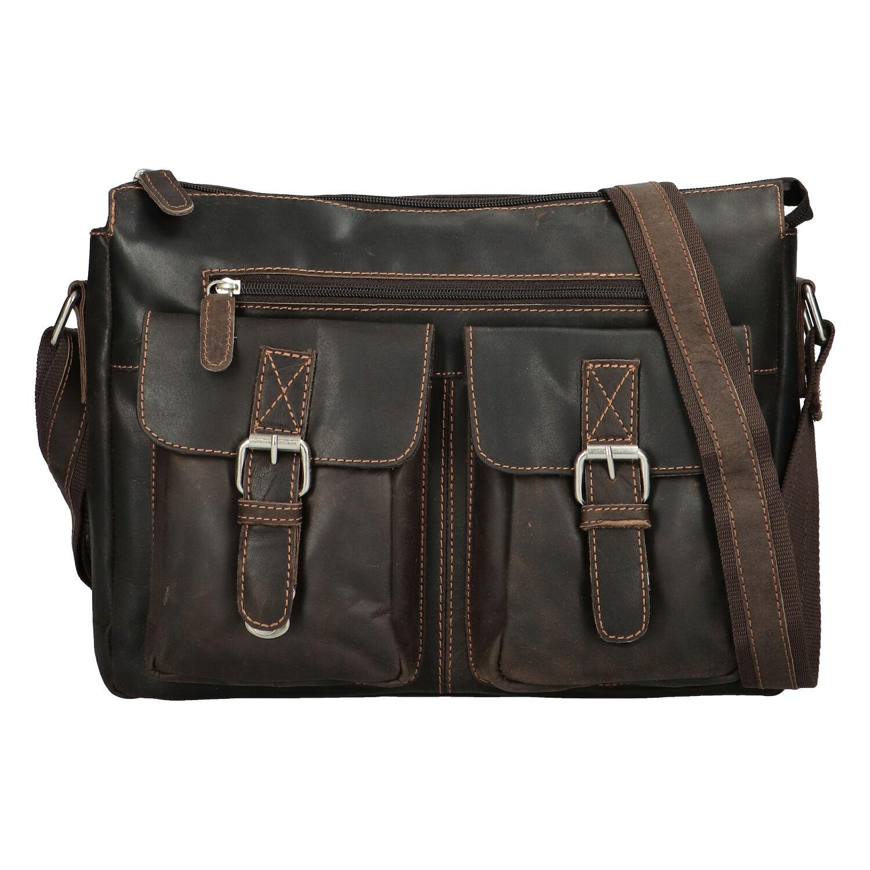 Kožená taška přes rameno tmavě hnědá - Greenwood Intrakt