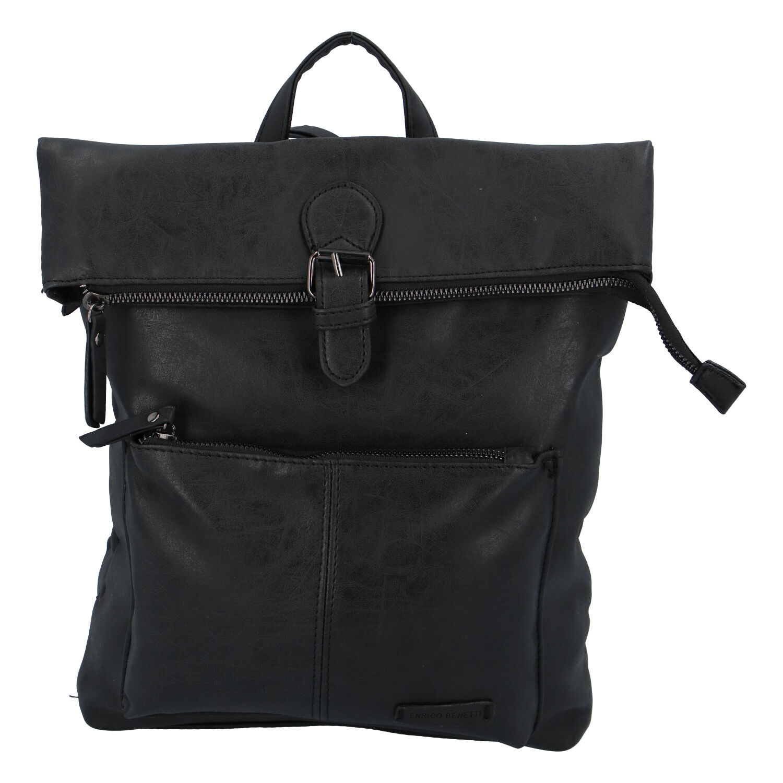 Stylový střední batoh černý - Enrico Benetti Amsterdam