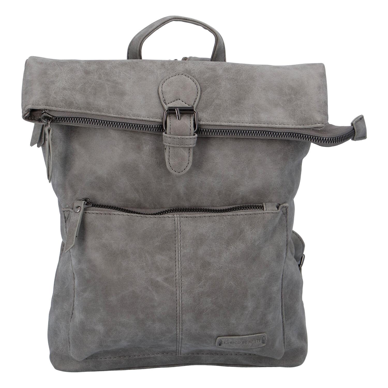 Stylový střední batoh šedý - Enrico Benetti Amsterdam