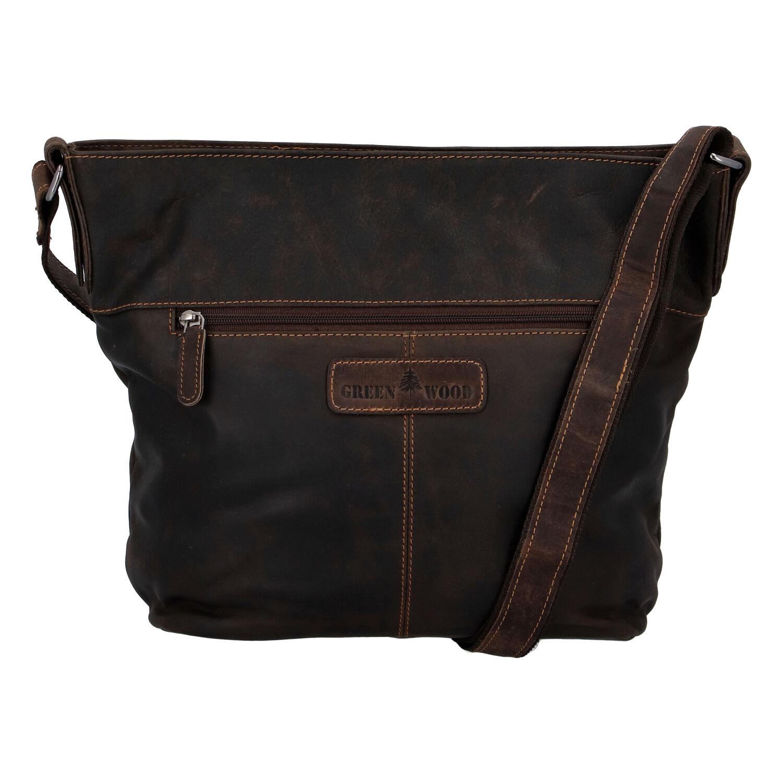 Dámská kožená kabelka přes rameno tmavě hnědá - Greenwood Fluxis