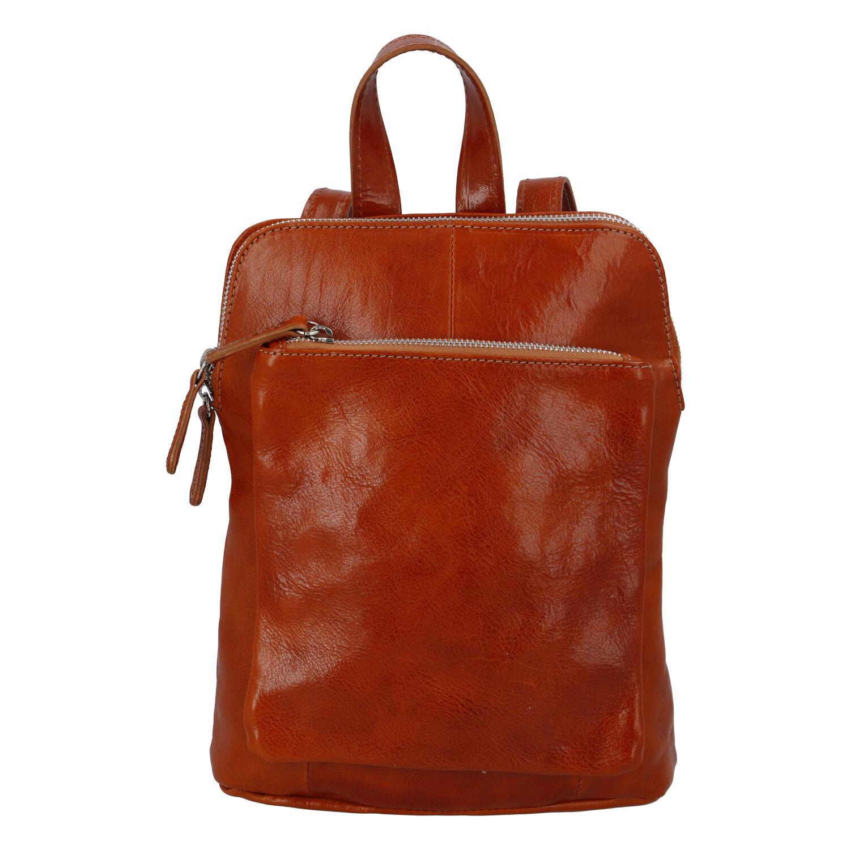 Dámský kožený batůžek kabelka koňakový - ItalY Englis