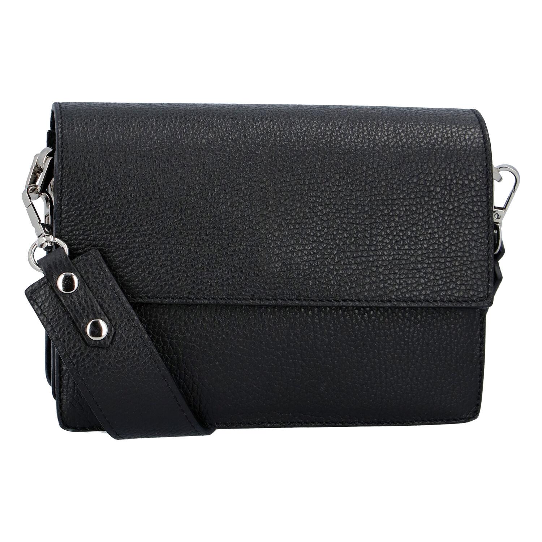 Elegantní kožená kabelka černá - ItalY Kenesis