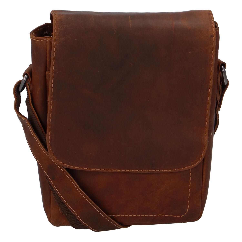 Pánská kožená crossbody taška světle hnědá - Greenwood Nash