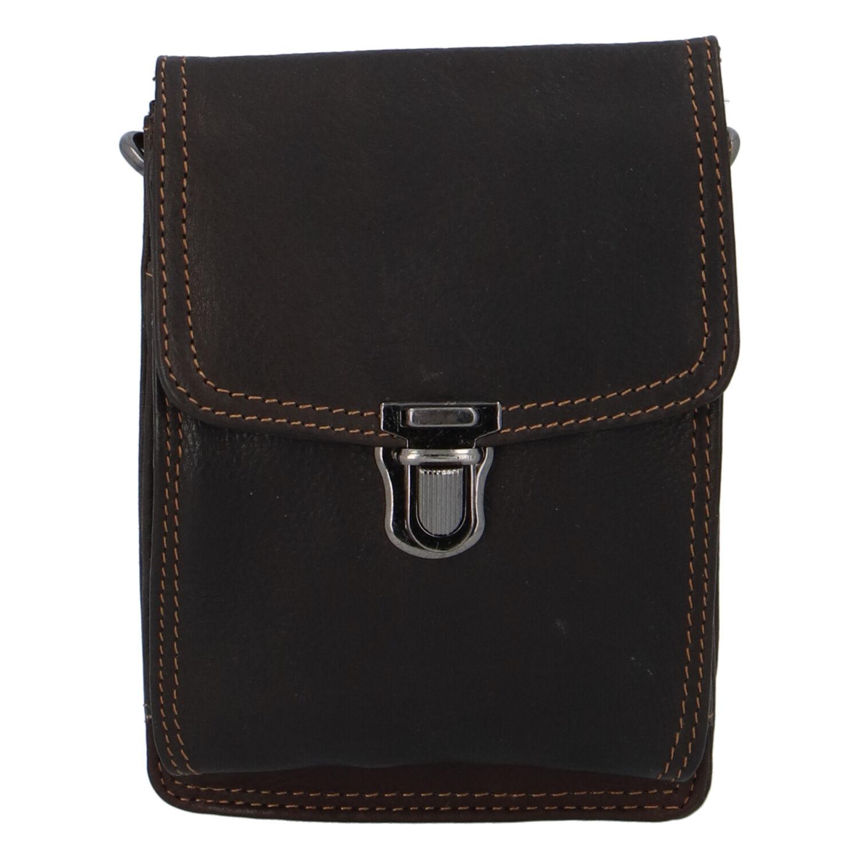 Luxusní pánská kožená kapsa na opasek tmavě hnědá - Greenwood Surprise