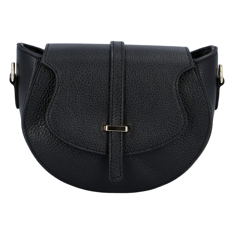 Dámská kožená crossbody kabelka černá - ItalY Blauke