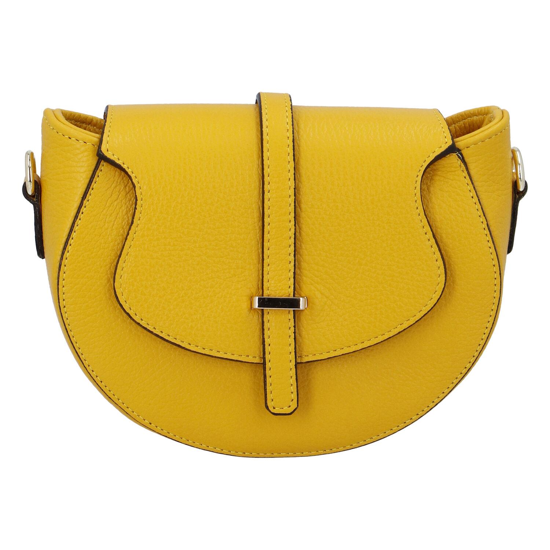Dámská kožená crossbody kabelka žlutá - ItalY Blauke