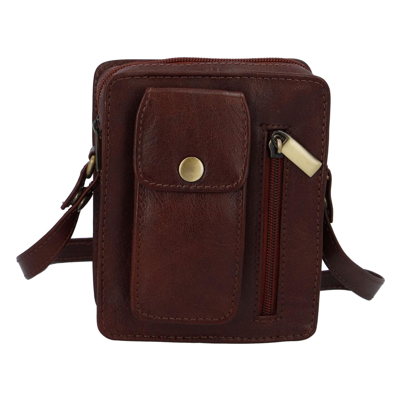 Pánská kožená kapsa na doklady hnědá - Tomas Furry