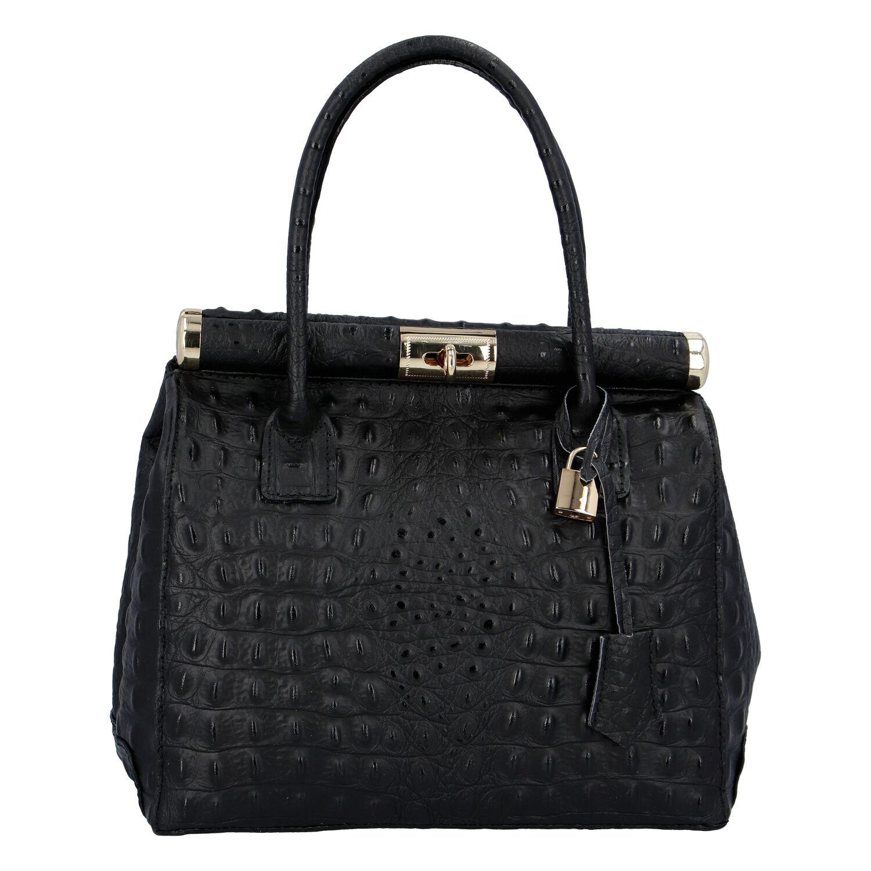 Luxusní dámská kožená kabelka do ruky černá - ItalY Hyla Kroko
