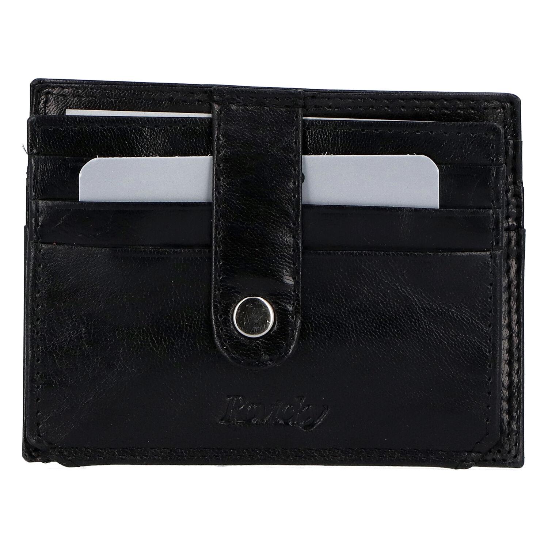 Kožená peněženka na kreditní karty černá - Rovicky N1367