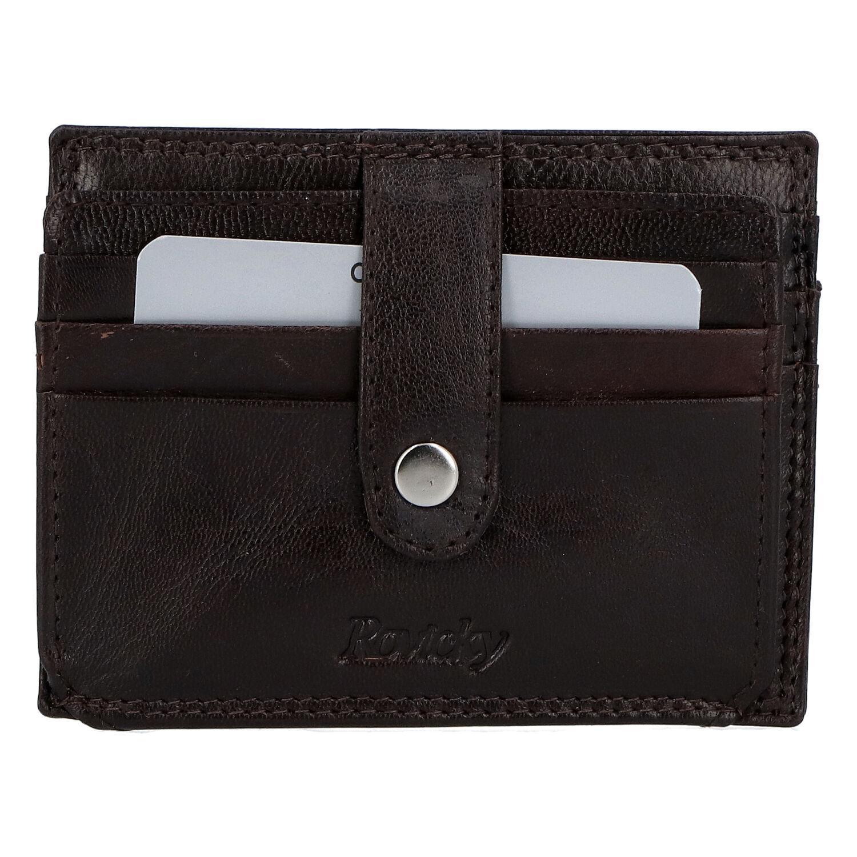 Kožená peněženka na kreditní karty tmavě hnědá - Rovicky N1367