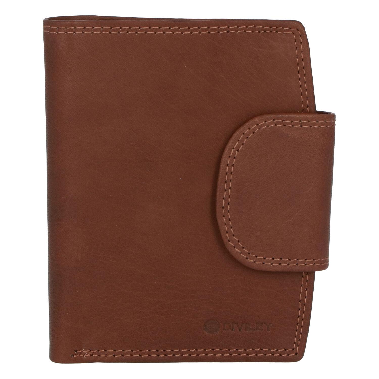 Elegantní světle hnědá kožená peněženka se zápinkou - Diviley Universit