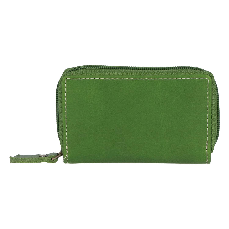 Hladké kožené pouzdro na kreditní karty zelené - Tomas Veeze