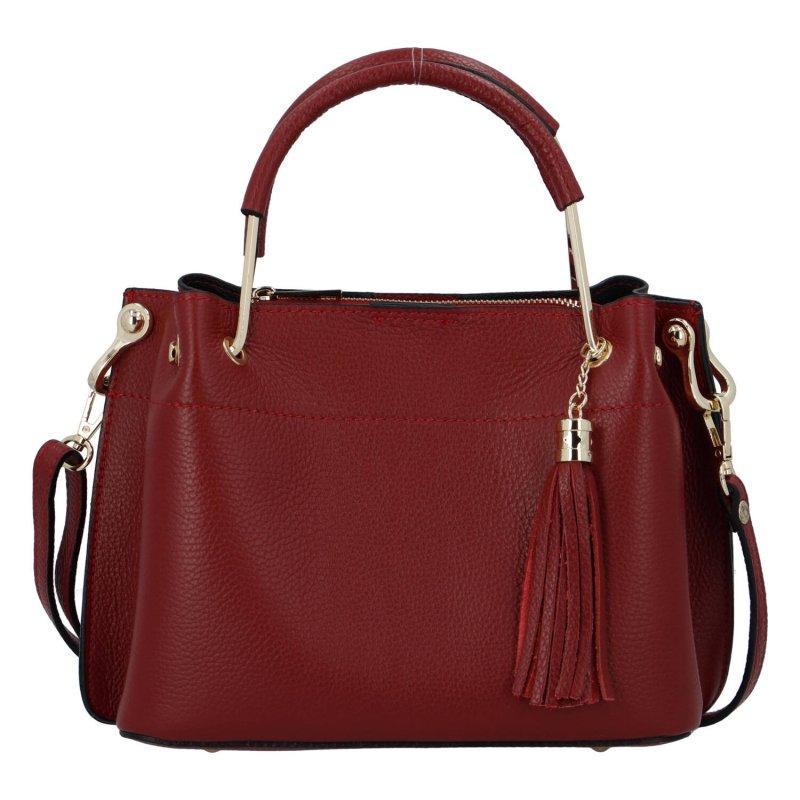Exkluzivní dámská kožená kabelka tmavě červená - ItalY Maarj