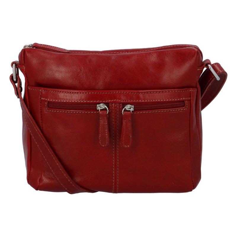 Dámská kožená crossbody kabelka červená - ItalY ItOff
