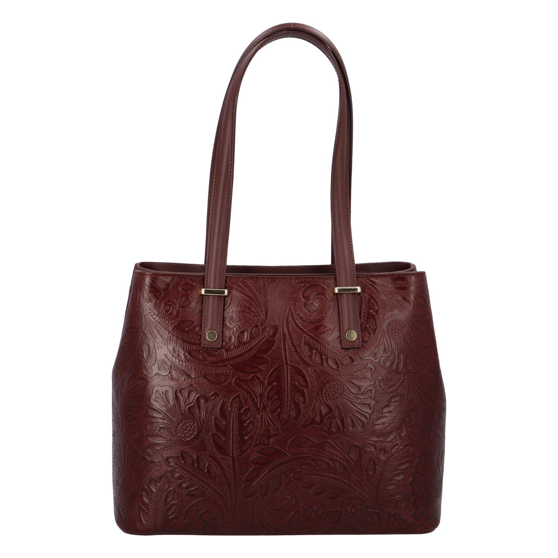 Exkluzivní dámská kožená kabelka bordó - ItalY Logistilla