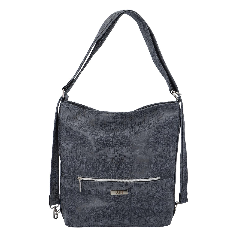 Módní dámská kabelka batoh tmavě modrá se vzorem - Ellis Patrik