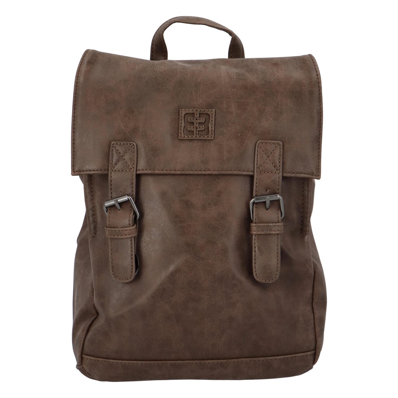 Módní stylový střední batoh hnědý - Enrico Benetti Traverz
