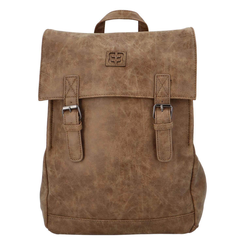 Módní stylový batoh tmavý camel - Enrico Benetti Travers