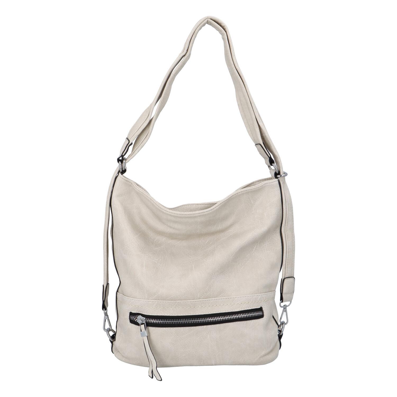 Dámská kabelka batoh světle béžová - Romina Nikka