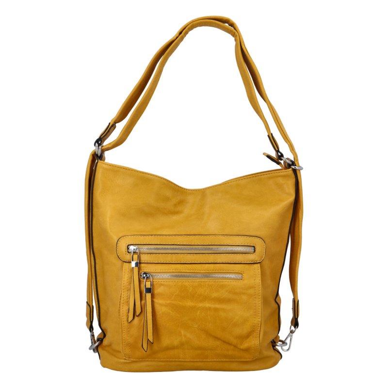 Dámská kabelka batoh tmavě žlutá - Romina Jaylyn