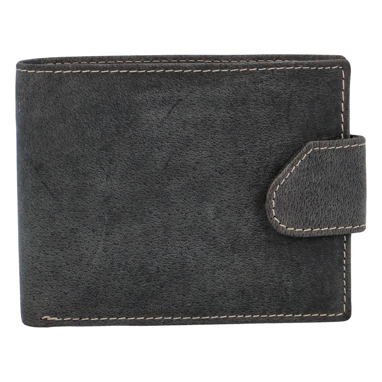 Broušená pánská černá kožená peněženka - Tomas 76VT
