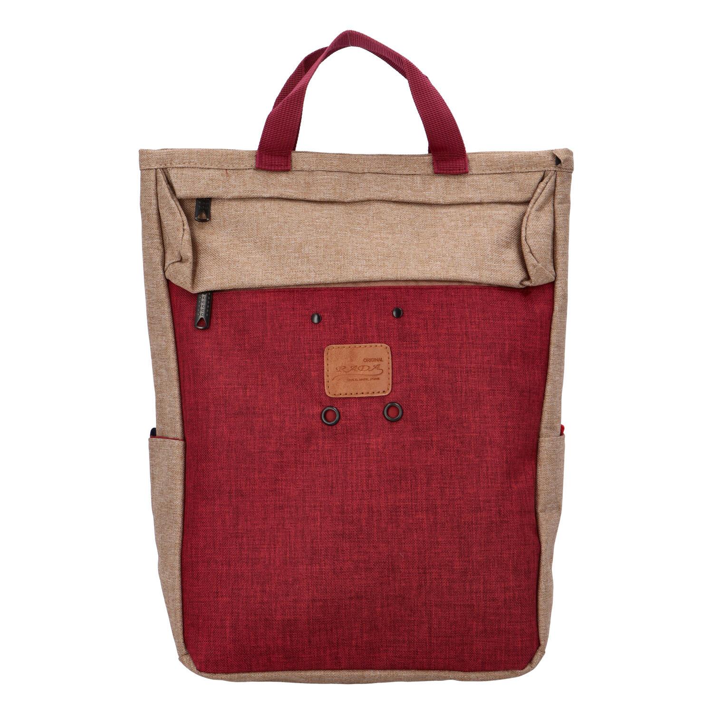 Stylový béžovo-červený látkový batoh - New Rebels Javan