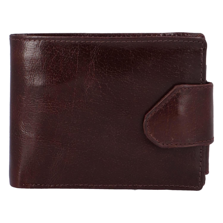 Lesklá pánská hnědá kožená peněženka - Tomas 76VT