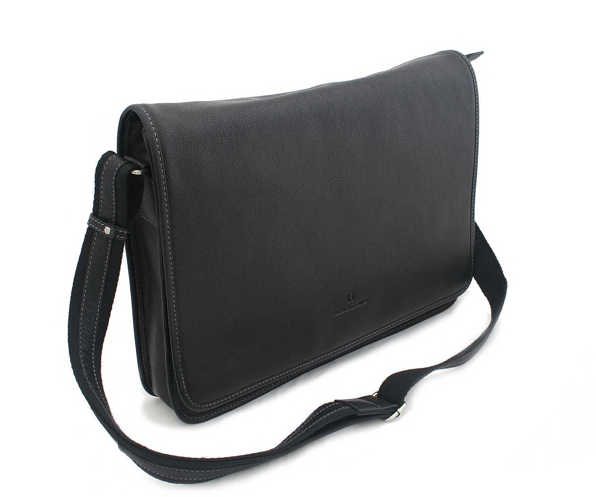 Černá kožená taška Hexagona 463136
