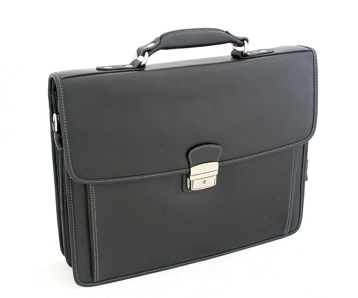 Černá kožená aktovka Hexagona 469537