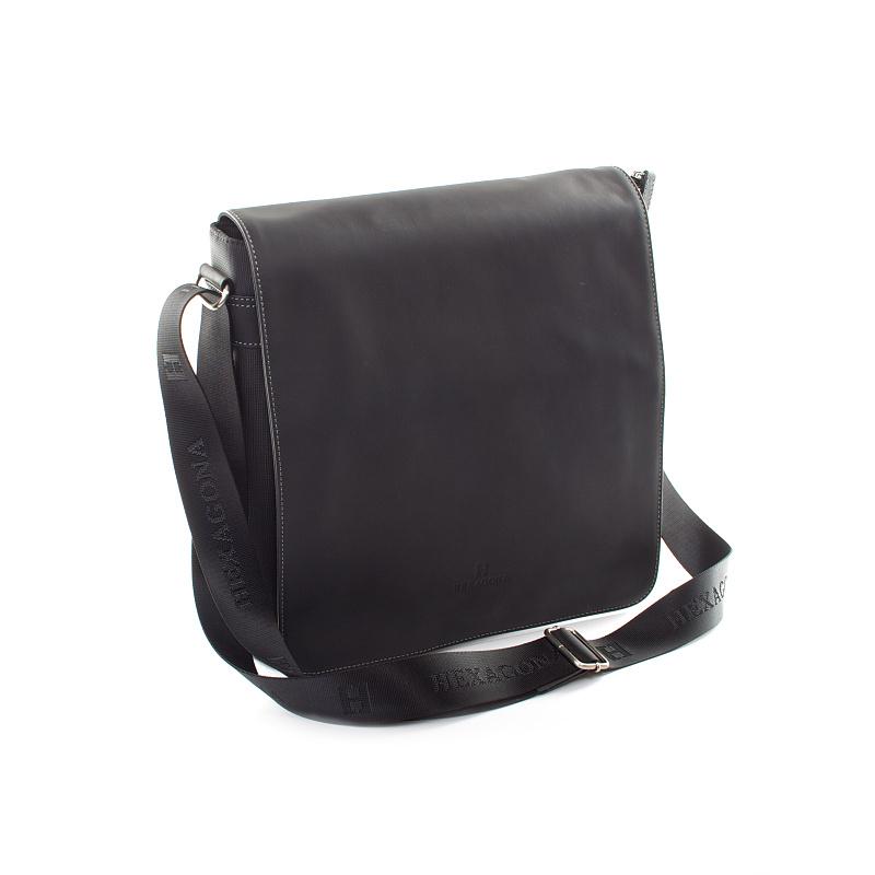 Černá kožená taška přes rameno Hexagona 299163