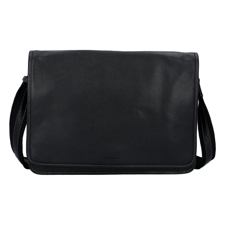 Pánská kožená taška přes rameno černá - Hexagona 463136