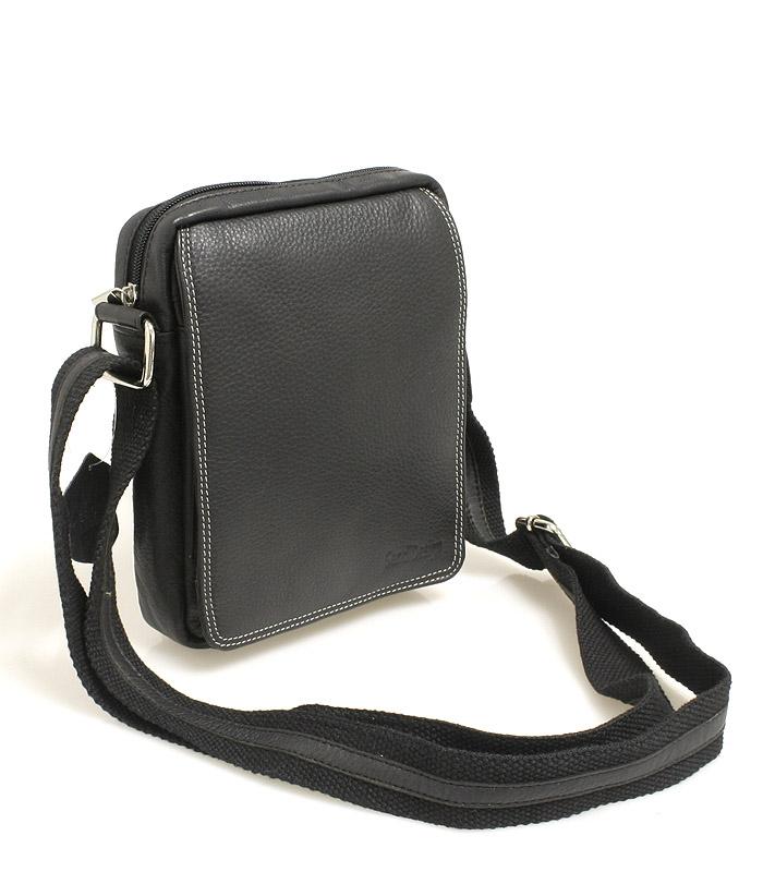 Černá kožená pánská taška přes rameno 52006