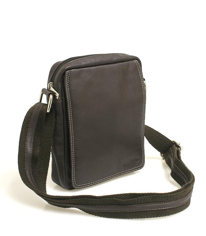 Hnědá kožená pánská taška přes rameno 52006
